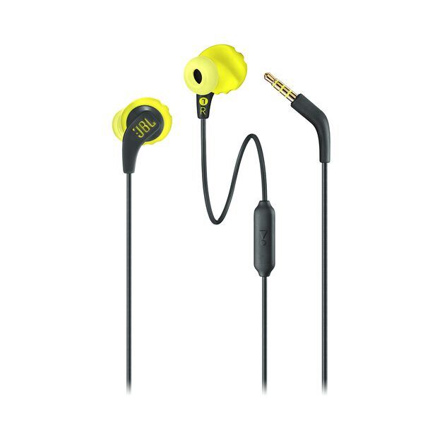 JBL Endurance RUN - Yellow - Sweatproof Wired Sport In-Ear Headphones - Detailshot 1