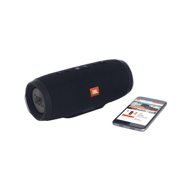 JBL Charge 3 Stealth Edition - Black - Full-featured waterproof portable speaker with high-capacity battery to charge your devices - Detailshot 1